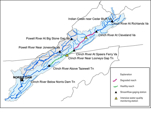 Usgs Clinch Powell Gages Google Map